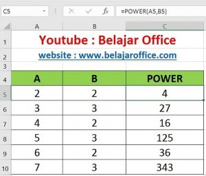 Rumus Excel Power (Pangkat)