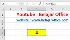 Cara 1 Akar Kuadrat Excel