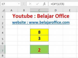 Cara 2 Akar Pangkat Excel